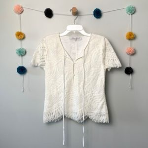 Lovers + Friends White Lace Blouse